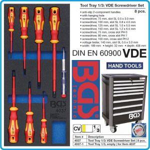 Модул с инструменти 1/3, вложка за количка, 8бр VDE отвертки изолирани к-т, BGS, 4037.