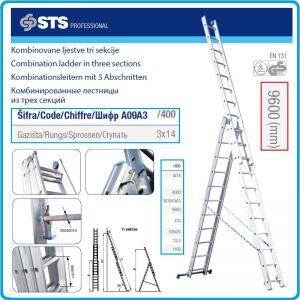 Стълба алуминиева трираменна, 3х14 стъпала, комбинирана 9.6m, Profi, STS, A09A3400.