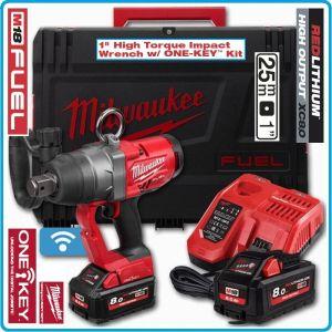 "Гайковерт акумулаторен, ударен на 1"", 2033 Nm, 18V 8.0Ah, One-Key, Milwaukee, M18O-F1-802X."