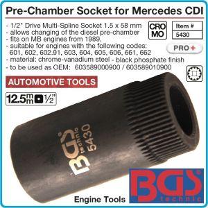 """Ключ за бренери на Mercedes-Benz, захват 1/2""""- 1.5x58mm, вложка с външни шлици, BGS, 5430."""