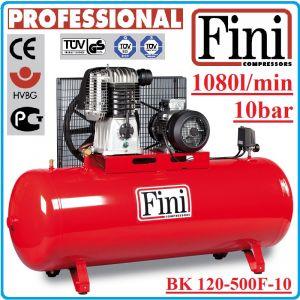 Компресор, Бутален, 500L, 1080 L/min, 10Bar, Fini, BK120-500F-10
