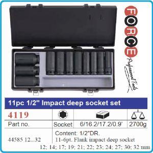 """Вложки комплект, ударни, удължени, 1/2"""", 12-32mm, 11бр, Force, 4119"""