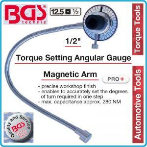 """Ъгломер механичен, градусомер с магнит, 1/2"""", 280 Nm, BGS, 3170"""
