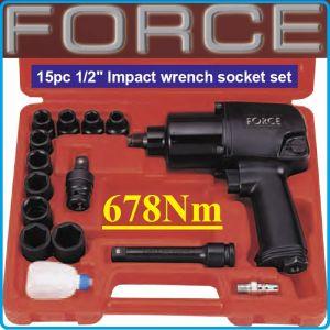 """Гайковерт пневматичен, к-т 15ч, 12.5mm, 1/2"""", 680 Nm, Force, 4142B"""