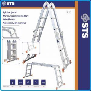 Стълба, алуминий, мултифункционална, сгъваема, 3.6m, STS, 4x3