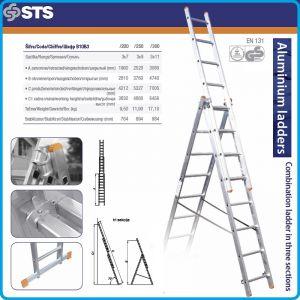 Стълба, алуминий, трираменна, комбинирана, 4.2m, 5.3m или 7.0m, STS