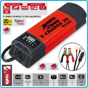 Зарядно устройство, електронно, за батерии, 12-24V, 5-180Ah, Telwin, TC20