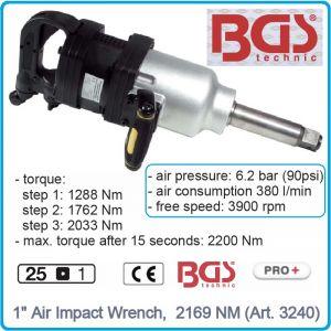 """Гайковерт, Пневматичен, Ударен, 1"""", 6.2 bar, 2170 Nm, BGS, 3240"""