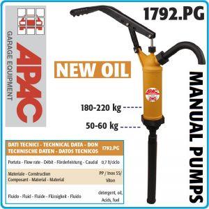 Помпа, ръчна, PP, за масла, горива, препарати, киселини, 0.7lt/ciclo, Apac, 1792.PG