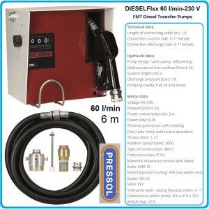 Колонка за дизел, мобилна, к-т, с разходомер, 230V, 60L/min, Pressol, 23420
