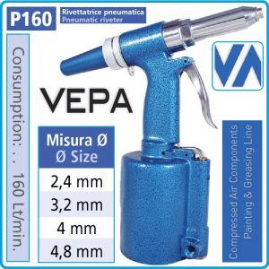 Попнитачка, пневматична, PRO, 5-7Bar, 2.4-4.8mm, Vepa, P160/1