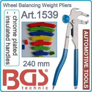 Клещи за баланс на гуми, чук за балансни тежести, 240mm, BGS, 1539