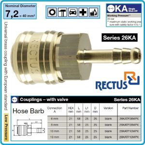 Бърза връзка, за въздух, щуцер за маркуч, 4 размера, 6-13mm, Rectus, 26KATF