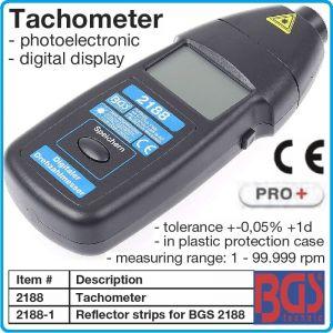Тахометър безконтактен, цифров оборотомер, 10krpm, точност, +0.05%, BGS, 2188