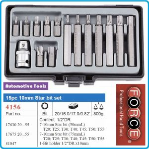 Шестограми Torx, 10mm, накрайници, комплект 15 броя, Force, 4156