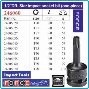 """Вложка Torx ударна, 1/2"""", T20-T70, лята усилена, 12.5mm, Force, 246060"""