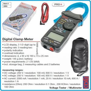Ампер клещи за променлив ток, LCD мултицет, 2-600A, 1-600V, 200Ω-200kΩ, BGS, 2203
