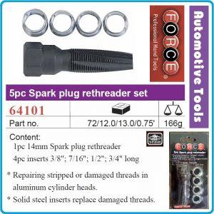 Ремонтен комплект за резби, 5 части, метчик за свещи 14mm, Force, 64101