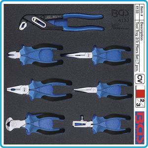 Модул с инструменти 2/3, вложка за количка, 7бр клещи PVC дръжки, BGS, 4133