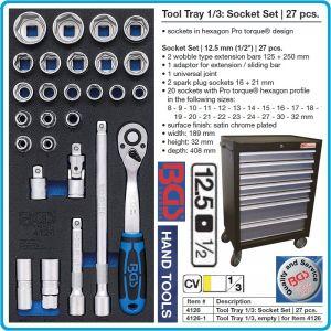"""Модул с инструменти 1/3, вложка за количка, 27бр к-т Pro Torque® от 8-32mm на 12.5mm - 1/2"""", BGS, 4126"""