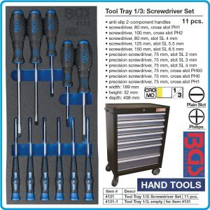 Модул с инструменти 1/3, вложка за количка, 11бр отвертки комплект SL, PH, BGS, 4131.