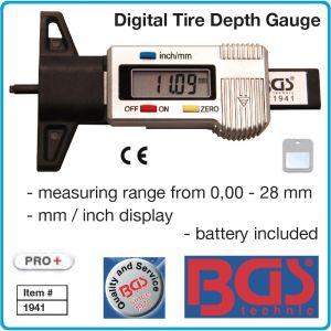 Дълбокомер за гуми, цифров 0-28 mm, дигитален грайферомер mm/inch, BGS, 1941