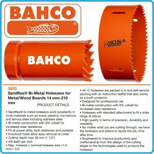 Боркорона биметална  Sandflex® за метал и дърво, Ø14-210mm, h 38mm, 8%Co, Bahco, 3830