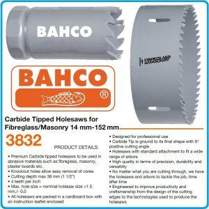 Боркорона карбидна за зидария и фибростъкло, твърдосплавна Ø14-146mm, h 38mm, FeC, Bahco, 3832