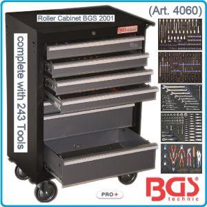 Количка, инструментална, оборудвана, к-т, 243 части, BGS, 4060