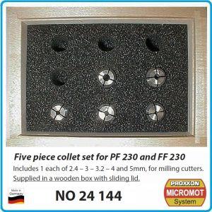 Цанги, за микро фреза, стоманени, к-т, 5бр, Proxxon Micromot, 24144